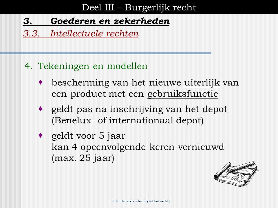 [ K.U. Brussel - inleiding tot het recht ] Deel III – Burgerlijk recht 3.3.Intellectuele rechten 3.Goederen en zekerheden 3. Merkenrecht  recht op be
