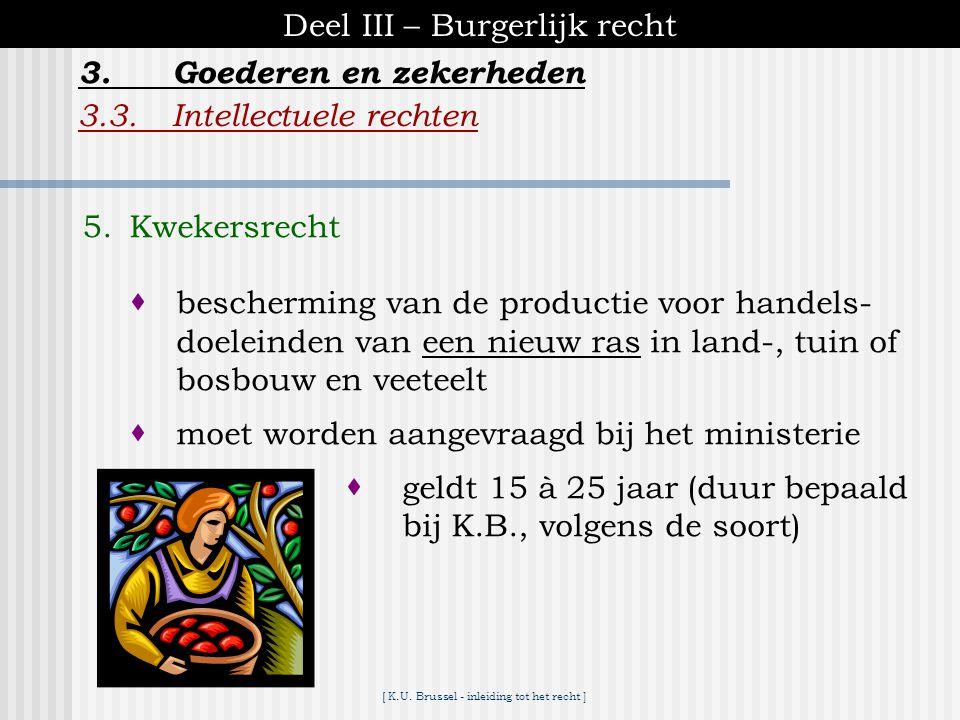 [ K.U. Brussel - inleiding tot het recht ] Deel III – Burgerlijk recht 3.3.Intellectuele rechten 3.Goederen en zekerheden 4.Tekeningen en modellen  b