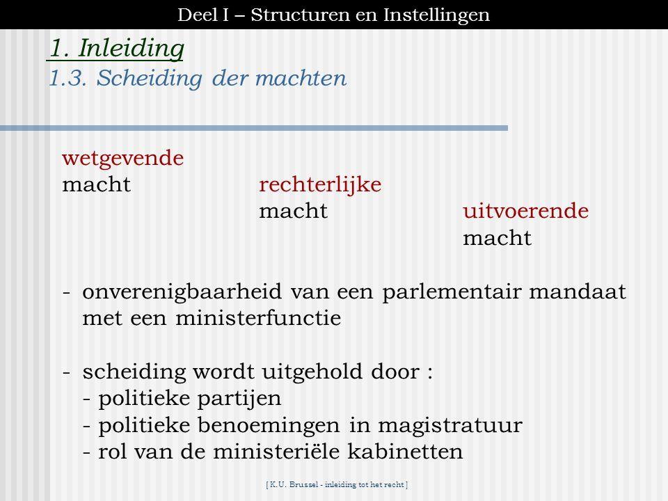 [ K.U. Brussel - inleiding tot het recht ] 1. Inleiding  kiesrecht 1830 : censitairenkel 1893 : algemeen, meervoudigmannelijke 1921 : algemeen, enkel