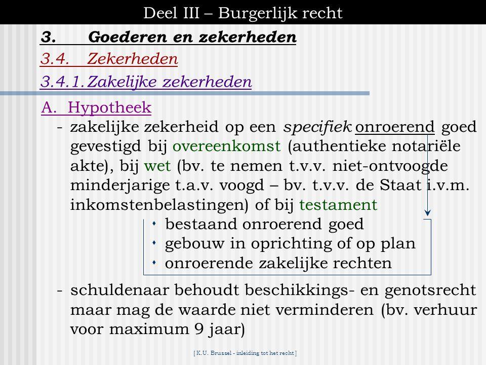 [ K.U. Brussel - inleiding tot het recht ] Deel III – Burgerlijk recht 3.4.Zekerheden 3.4.1.Zakelijke zekerheden 3.Goederen en zekerheden pandhypothee