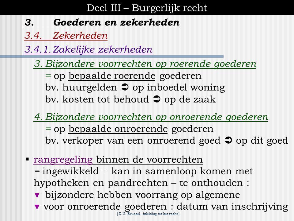 [ K.U. Brussel - inleiding tot het recht ] Deel III – Burgerlijk recht 3.4.Zekerheden 3.4.1.Zakelijke zekerheden 3.Goederen en zekerheden  soorten vo