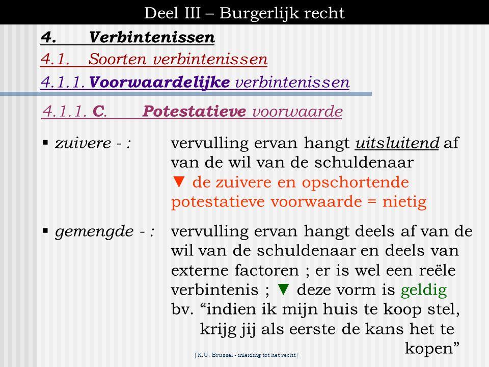 [ K.U. Brussel - inleiding tot het recht ] Deel III – Burgerlijk recht 4.Verbintenissen 4.1.1. B. Ontbindende voorwaarde ontstaan v/d (bv. verkoop van