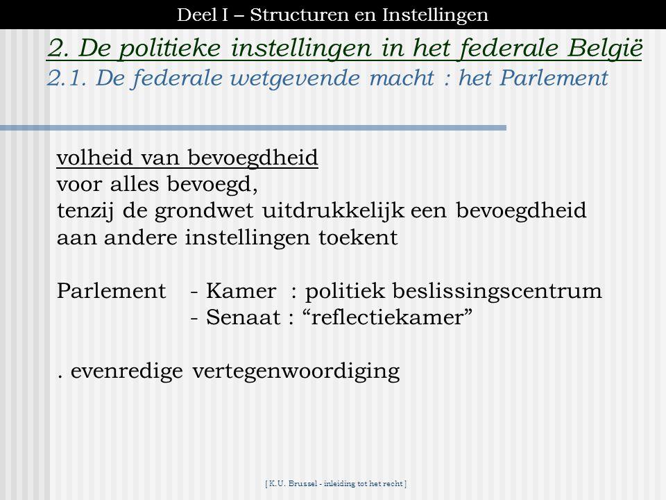 [ K.U. Brussel - inleiding tot het recht ] ► deel I :structuren en instellingen Inleiding tot het recht 1. Inleiding 2. De politieke instellingen in h