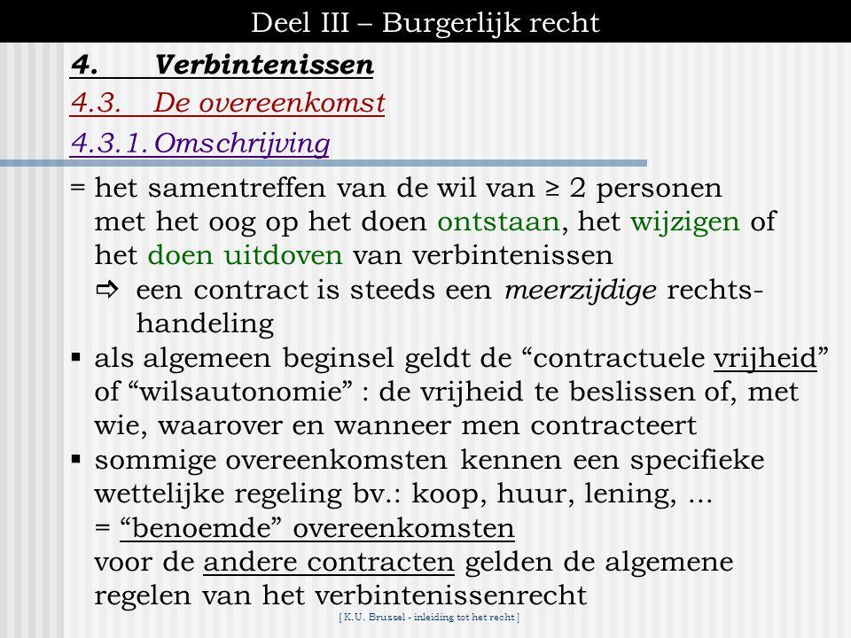 [ K.U. Brussel - inleiding tot het recht ] Deel III – Burgerlijk recht 4.Verbintenissen 4.2.Bronnen van verbintenissen A.Aanbod ▪een aanbod is een vas