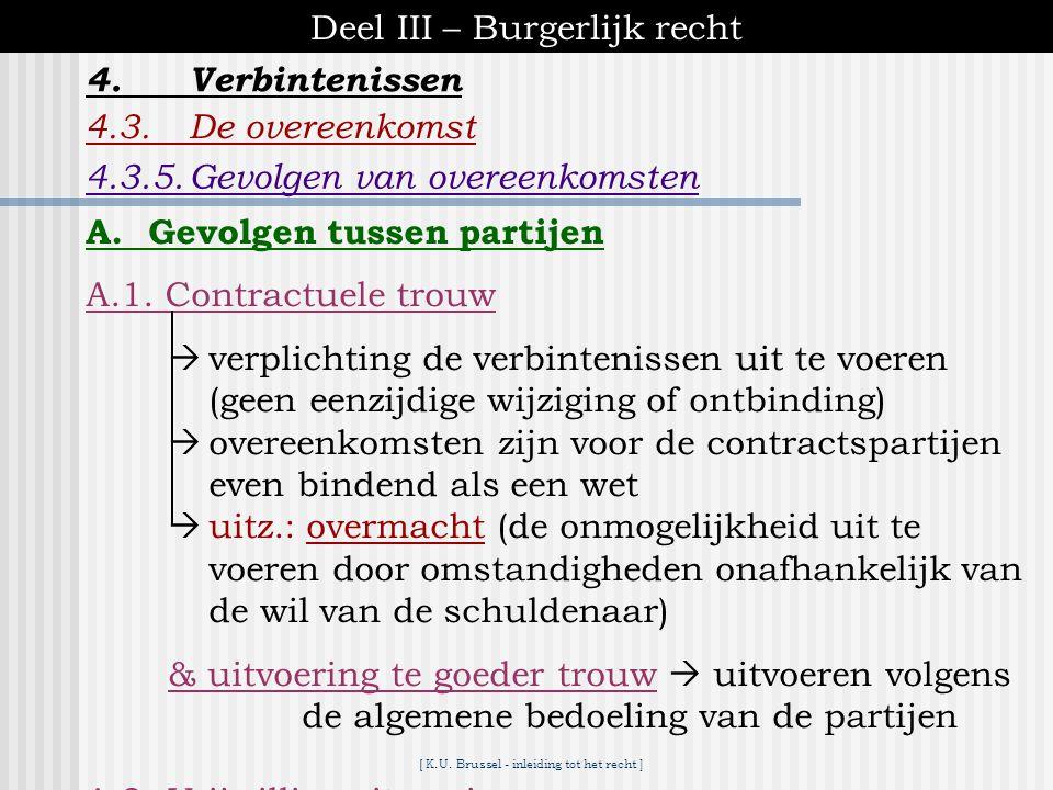 [ K.U. Brussel - inleiding tot het recht ] Deel III – Burgerlijk recht 4.Verbintenissen 4.3.De overeenkomst  bepalen van zin en draagwijdte van de in