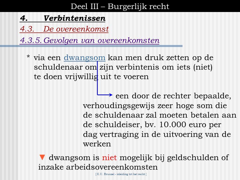 [ K.U. Brussel - inleiding tot het recht ] Deel III – Burgerlijk recht 4.Verbintenissen 4.3.De overeenkomst A.3.2.2.Uitvoering in natura ▪gedwongen ui