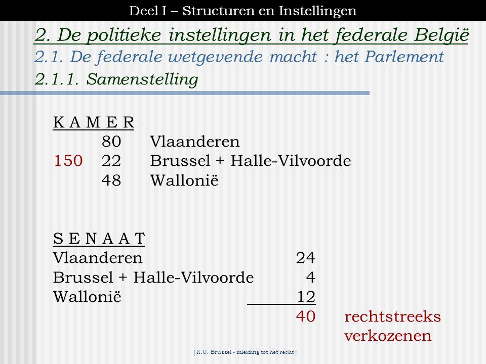 [ K.U. Brussel - inleiding tot het recht ] 2. De politieke instellingen in het federale België. parlementaire onverantwoordelijkheid uitspraken in het