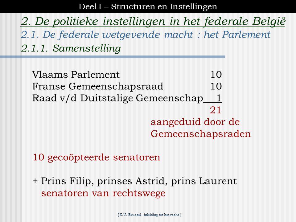 [ K.U. Brussel - inleiding tot het recht ] 2. De politieke instellingen in het federale België K A M E R 80Vlaanderen 15022 Brussel + Halle-Vilvoorde
