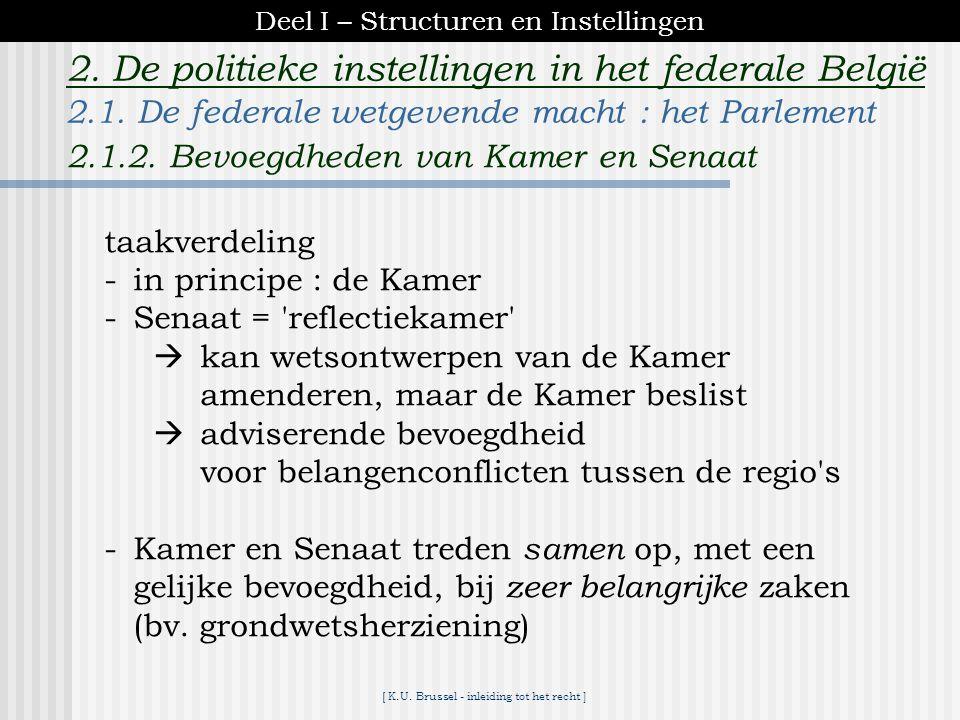 [ K.U. Brussel - inleiding tot het recht ] 2. De politieke instellingen in het federale België Vlaams Parlement10 Franse Gemeenschapsraad 10 Raad v/d