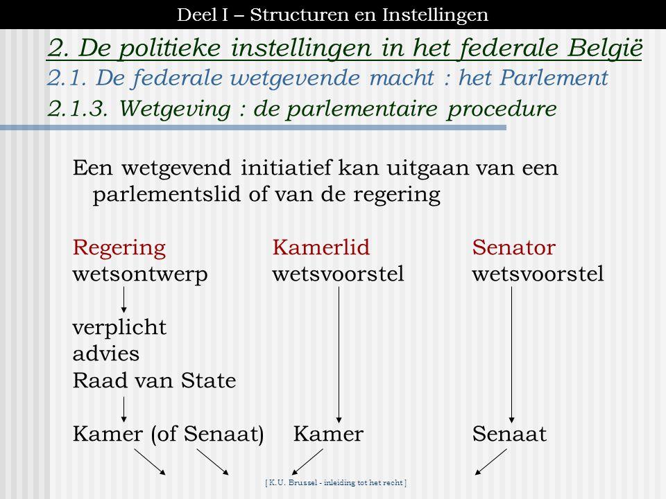 [ K.U. Brussel - inleiding tot het recht ] 2. De politieke instellingen in het federale België taakverdeling -in principe : de Kamer -Senaat = 'reflec