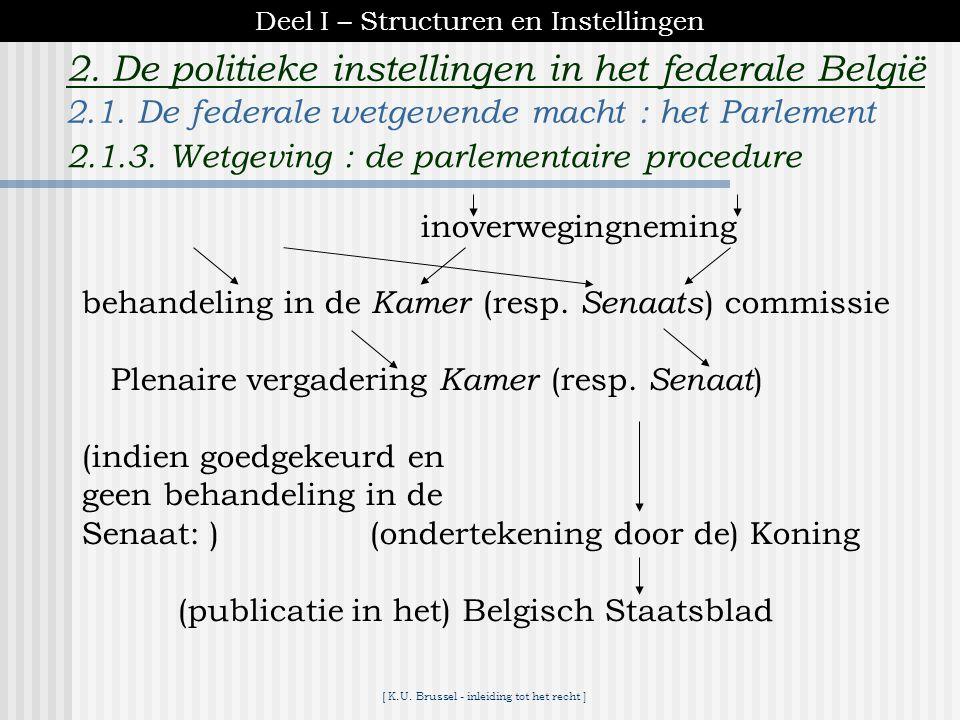 [ K.U. Brussel - inleiding tot het recht ] 2. De politieke instellingen in het federale België Een wetgevend initiatief kan uitgaan van een parlements