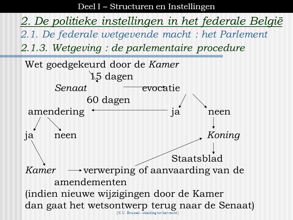[ K.U. Brussel - inleiding tot het recht ] 2. De politieke instellingen in het federale België inoverwegingneming behandeling in de Kamer (resp. Senaa