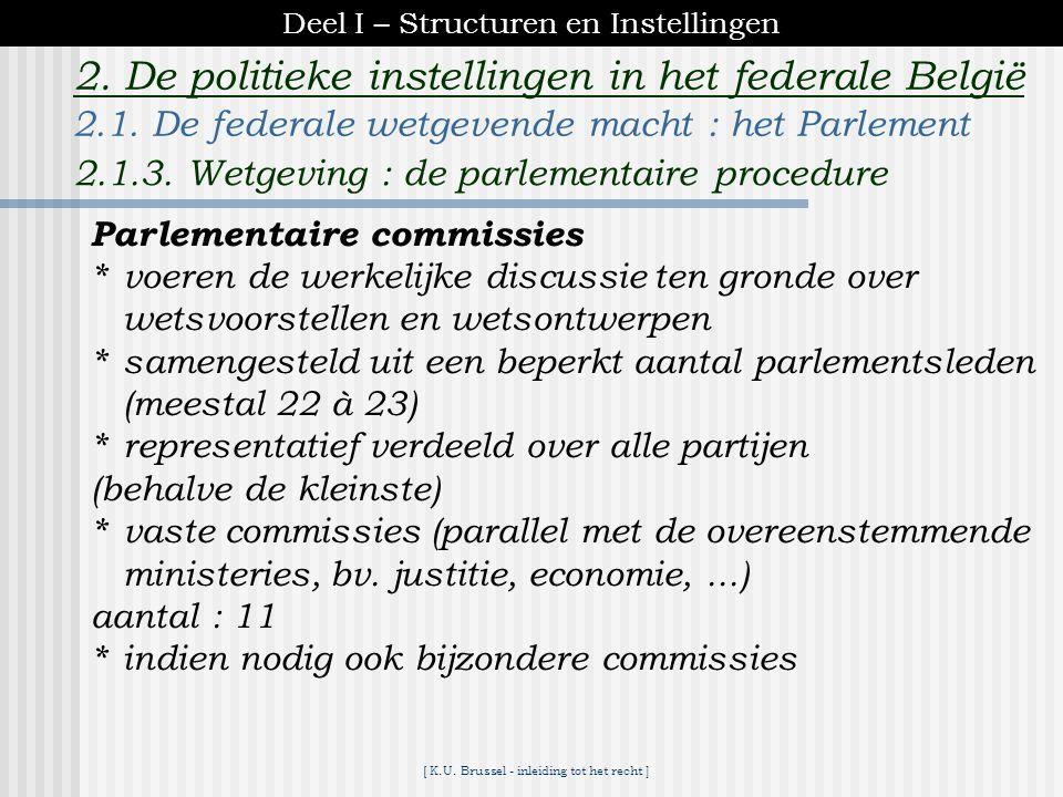 [ K.U. Brussel - inleiding tot het recht ] 2. De politieke instellingen in het federale België Wet goedgekeurd door de Kamer 15 dagen Senaat evocatie