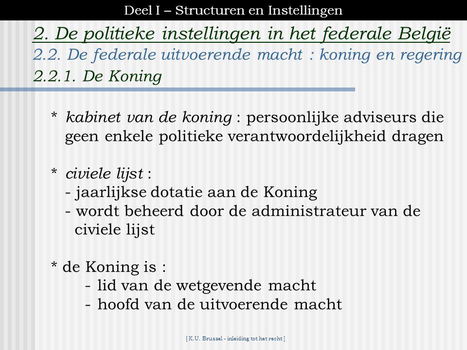 [ K.U. Brussel - inleiding tot het recht ] 2. De politieke instellingen in het federale België - politiek onbekwaam : voor elke handeling met politiek