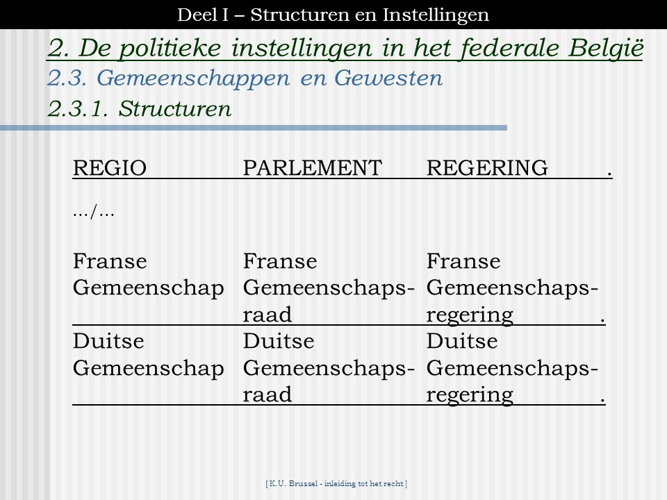 [ K.U. Brussel - inleiding tot het recht ] 2. De politieke instellingen in het federale België REGIOPARLEMENTREGERING. Vlaams Gewest Vlaams Vlaamse Pa