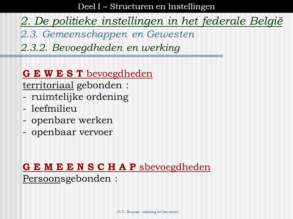 [ K.U. Brussel - inleiding tot het recht ] 2. De politieke instellingen in het federale België REGIOPARLEMENTREGERING..../... FranseFranse Franse Geme