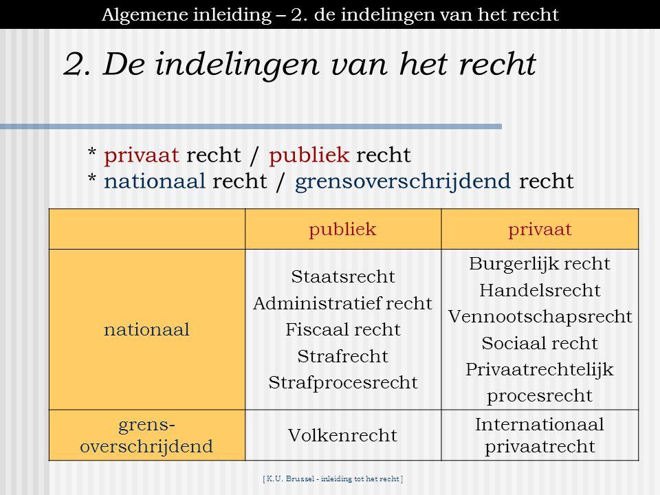[ K.U.Brussel - inleiding tot het recht ] 2. De indelingen van het recht Algemene inleiding – 2.