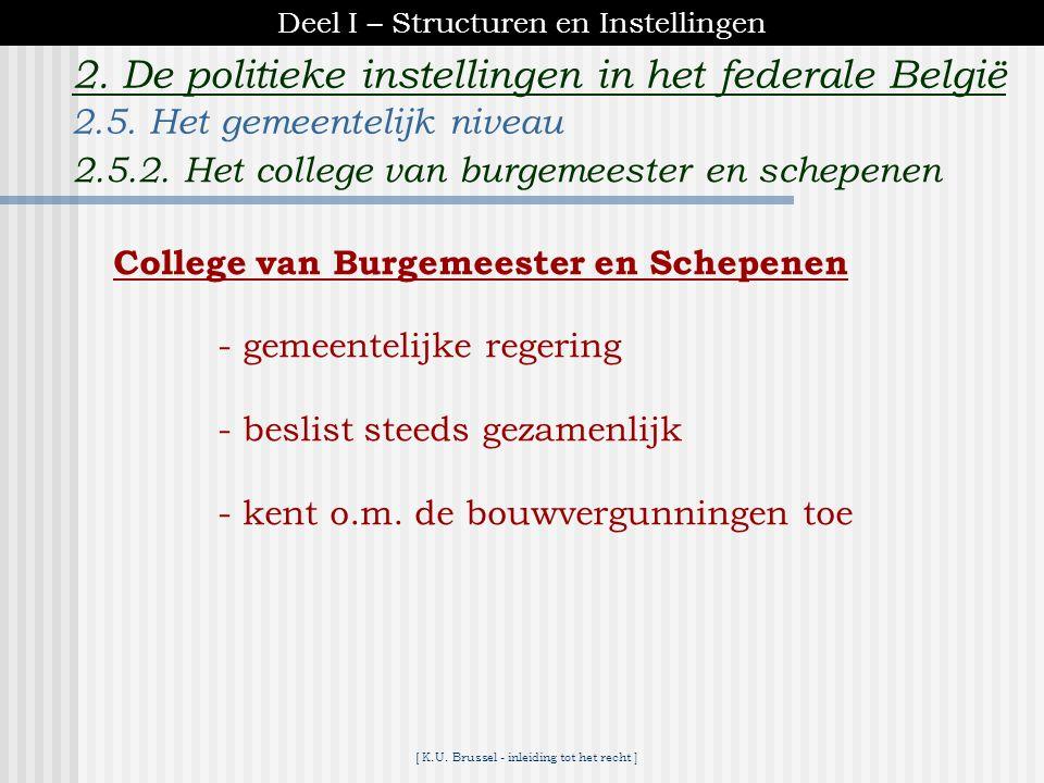 [ K.U. Brussel - inleiding tot het recht ] 2. De politieke instellingen in het federale België Gemeenteraad -gemeentelijk parlement -vaste legislatuur
