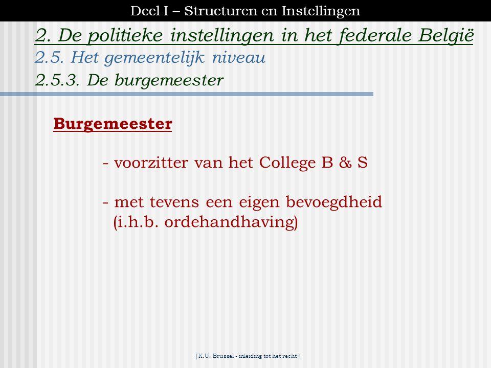 [ K.U. Brussel - inleiding tot het recht ] 2. De politieke instellingen in het federale België College van Burgemeester en Schepenen - gemeentelijke r