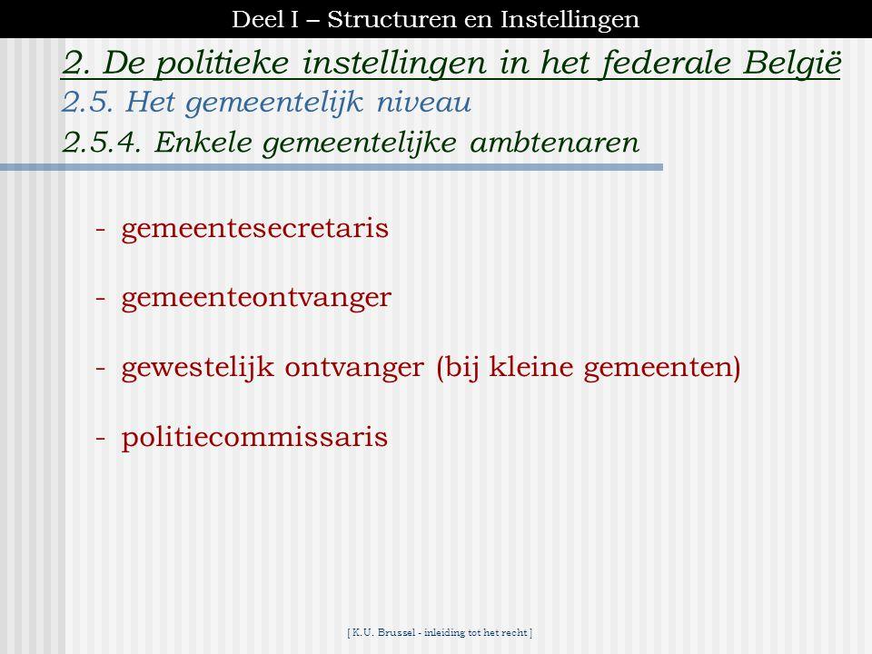 [ K.U. Brussel - inleiding tot het recht ] 2. De politieke instellingen in het federale België Burgemeester - voorzitter van het College B & S - met t