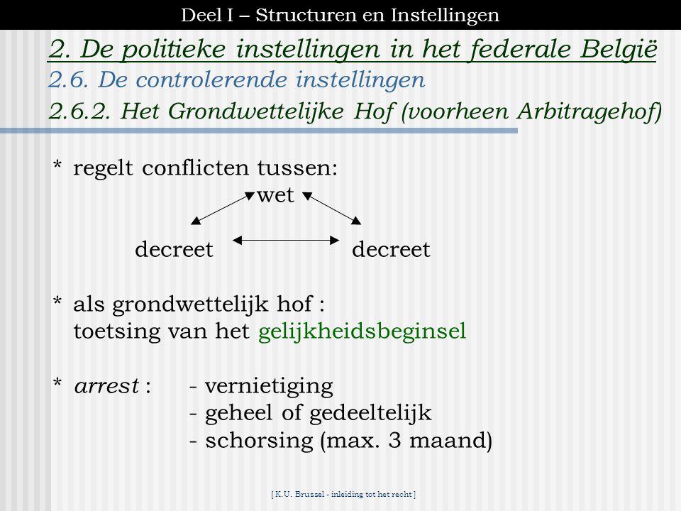 [ K.U. Brussel - inleiding tot het recht ] 2. De politieke instellingen in het federale België *indien vernietiging : de nieuwe beslissing is te nemen
