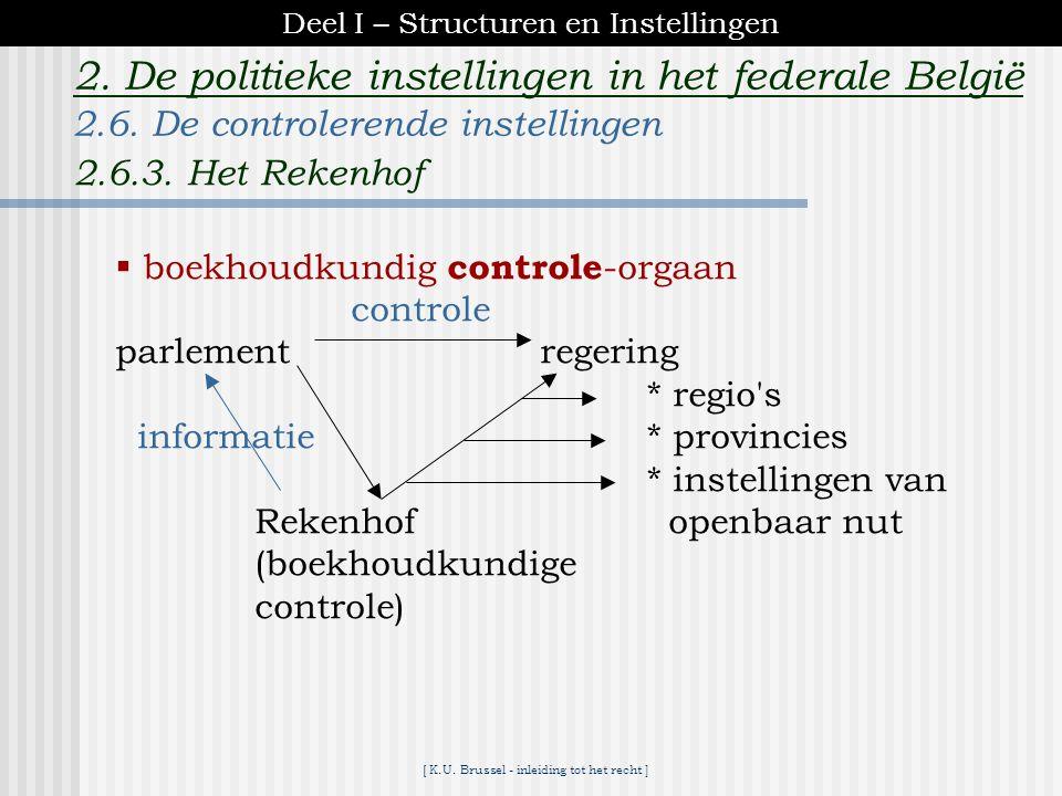 [ K.U. Brussel - inleiding tot het recht ] 2. De politieke instellingen in het federale België *beantwoorden van prejudiciële vragen advies in het kad
