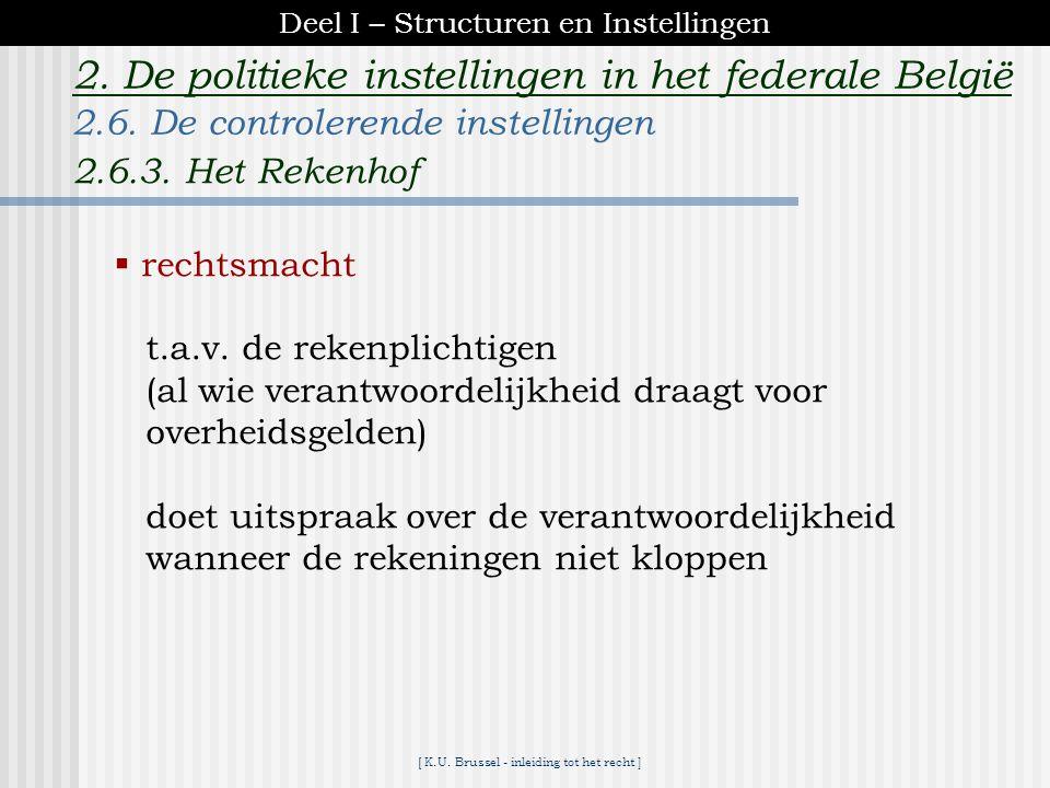 [ K.U. Brussel - inleiding tot het recht ] 2. De politieke instellingen in het federale België boekhoudkundig controle op : -werkelijkheidfacturen, be