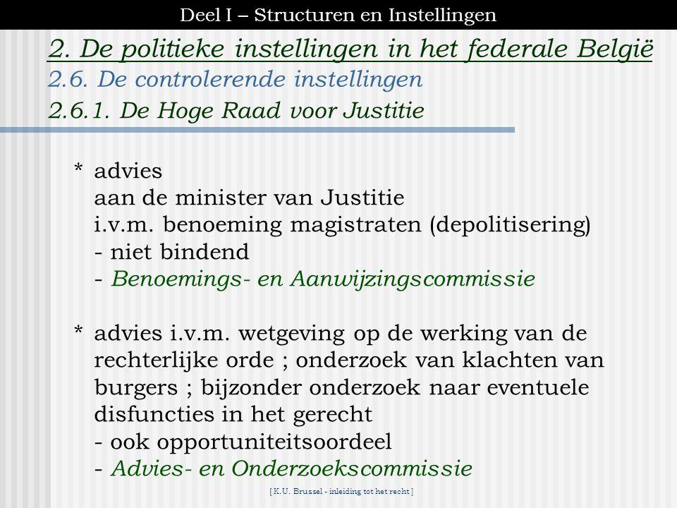 [ K.U. Brussel - inleiding tot het recht ] 2. De politieke instellingen in het federale België  rechtsmacht t.a.v. de rekenplichtigen (al wie verantw