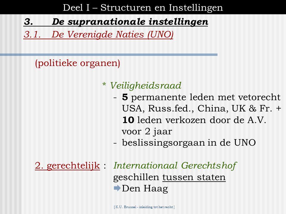 [ K.U. Brussel - inleiding tot het recht ] 3.De supranationale instellingen Deel I – Structuren en Instellingen 3.1.De Verenigde Naties (UNO)  doelst