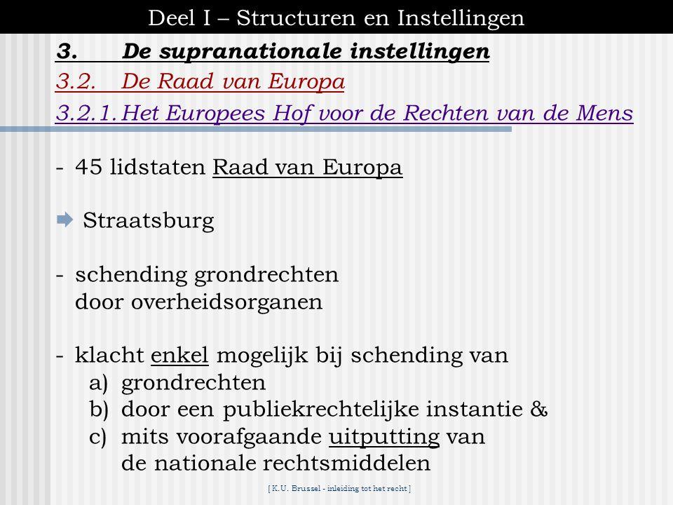 [ K.U. Brussel - inleiding tot het recht ] 3.De supranationale instellingen Deel I – Structuren en Instellingen 3.2.De Raad van Europa -verenigt de me