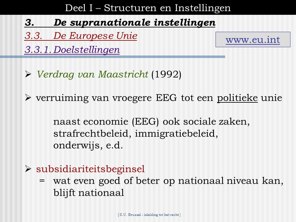 [ K.U. Brussel - inleiding tot het recht ] 3.De supranationale instellingen Deel I – Structuren en Instellingen 3.2.De Raad van Europa - 45 lidstaten