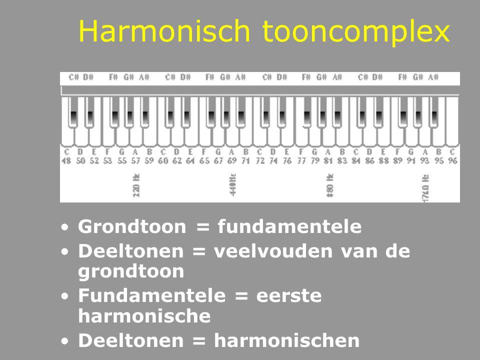 Tooncomplexen Harmonisch tooncomplex: deeltonen van het tooncomplex zijn veelvouden van de grondtoon Inharmonisch tooncomplex: niet alle deeltonen van