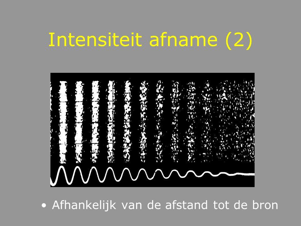 Intensiteit afname (1) Afname van intensiteit met afname van afstand Verdubbeling afstand = afname van 6.02 dB
