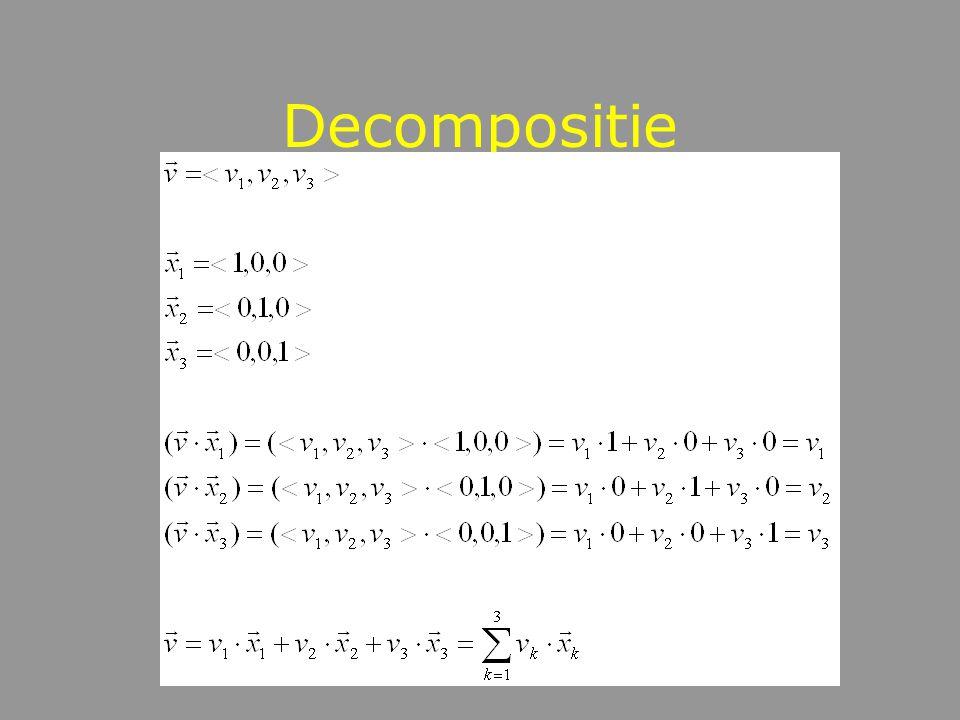 Decompositie als projectie Decompositie van een vector
