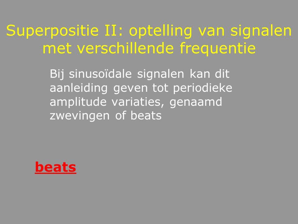 Superpositie I: Optelling van 2 signalen met dezelfde frequentie Het resultaat is een signaal met dezelfde frequentie