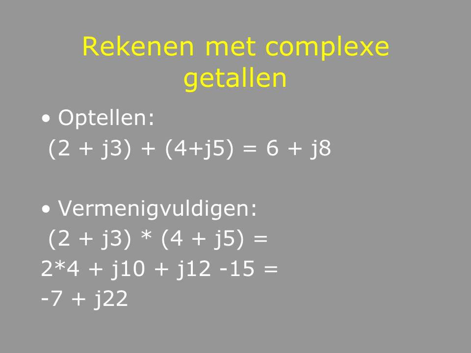 Voorstelling van complexe getallen Im Re j 1 -1 = j*j -j = j*j*j 1,3+j 1.3 j*1.3 -1.3+j 1,3+1.3j