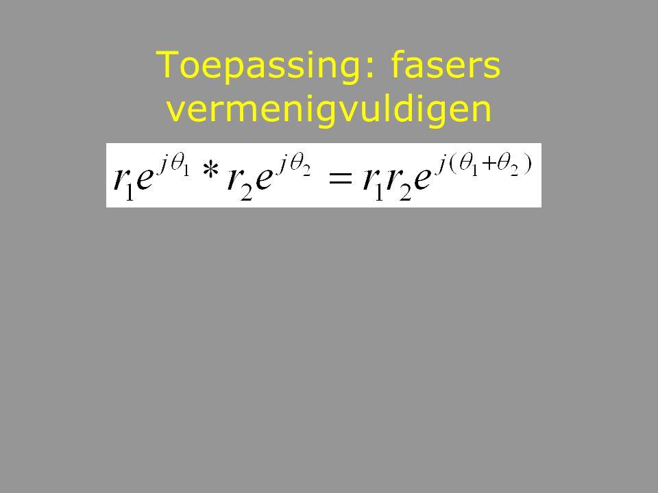 Toepassing: fasors met verschillende frequentie optellen geeft beats Gegeven: En reken uit: