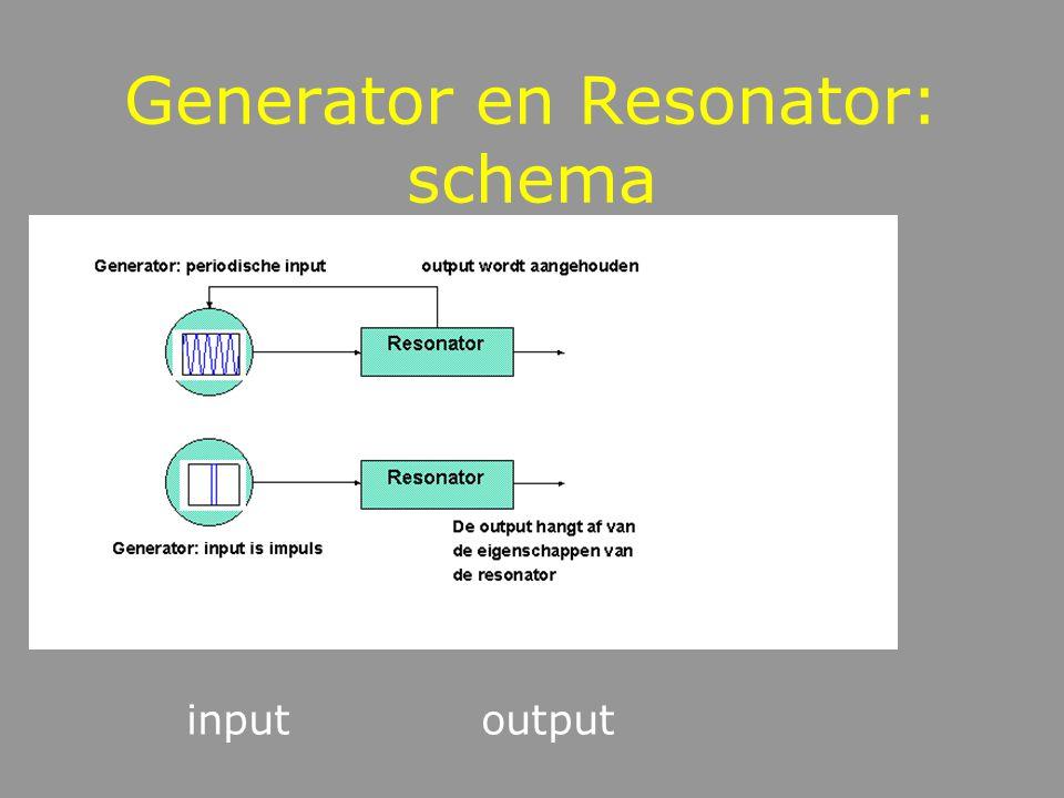 Muziekinstrumenten bestaan uit: generator: voert energie toe onder de vorm van impuls of periodieke trilling resonator: trillingsgevoelig object of lu