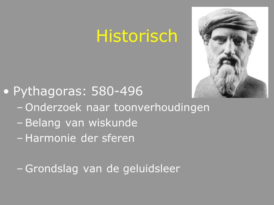 Historisch Pythagoras: 580-496 –Onderzoek naar toonverhoudingen –Belang van wiskunde –Harmonie der sferen –Grondslag van de geluidsleer