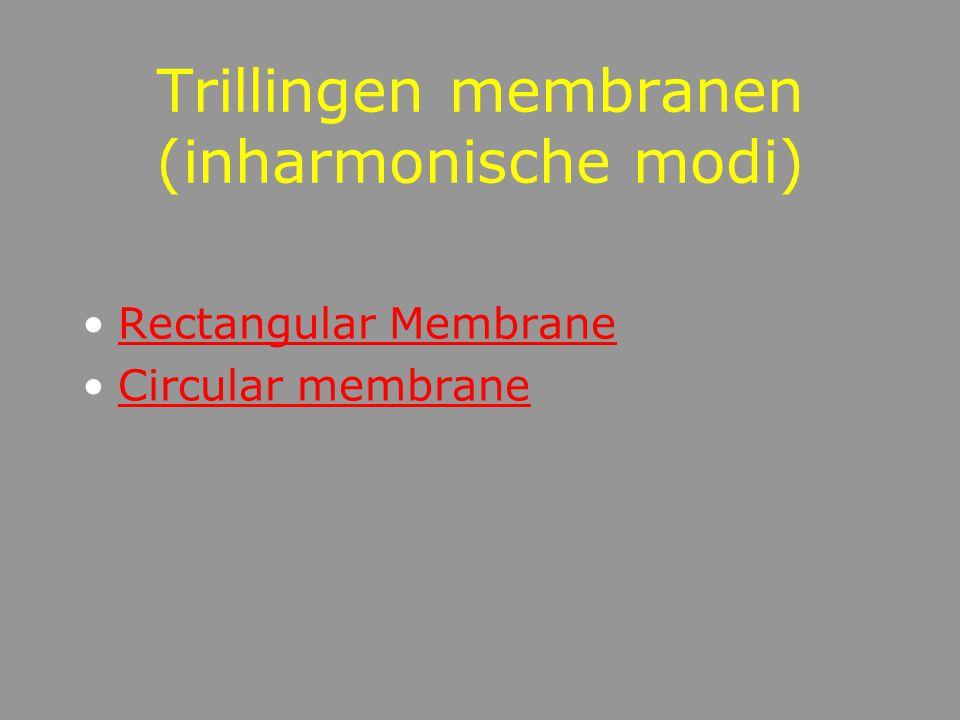 Trillingen in staven (inharmonische modi) InharmonischeTrillingsmodi