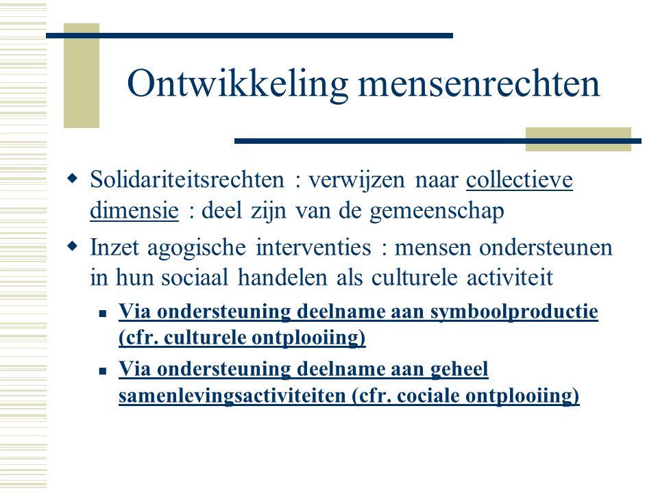Ontwikkeling mensenrechten  Solidariteitsrechten : verwijzen naar collectieve dimensie : deel zijn van de gemeenschap  Inzet agogische interventies