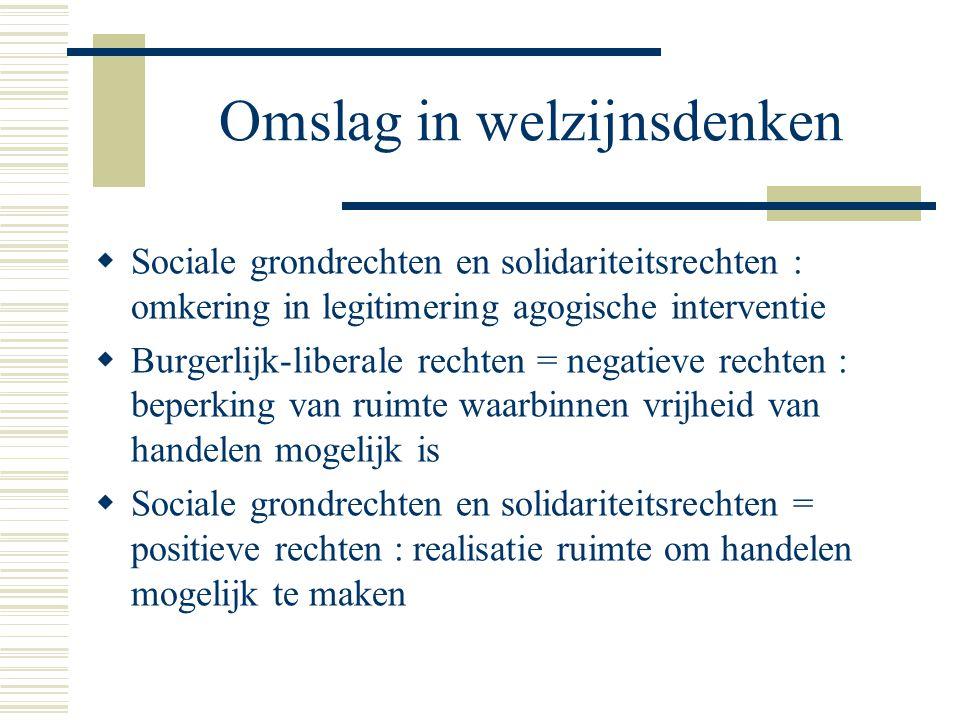 Omslag in welzijnsdenken  Sociale grondrechten en solidariteitsrechten : omkering in legitimering agogische interventie  Burgerlijk-liberale rechten