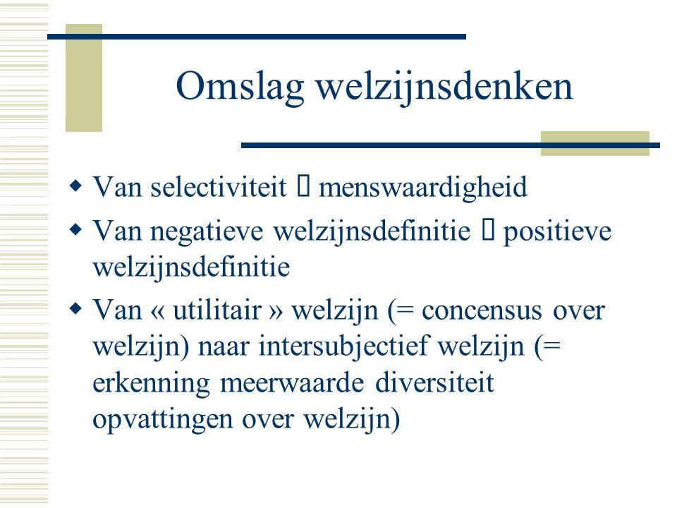 Omslag welzijnsdenken  Van selectiviteit  menswaardigheid  Van negatieve welzijnsdefinitie  positieve welzijnsdefinitie  Van « utilitair » welzij