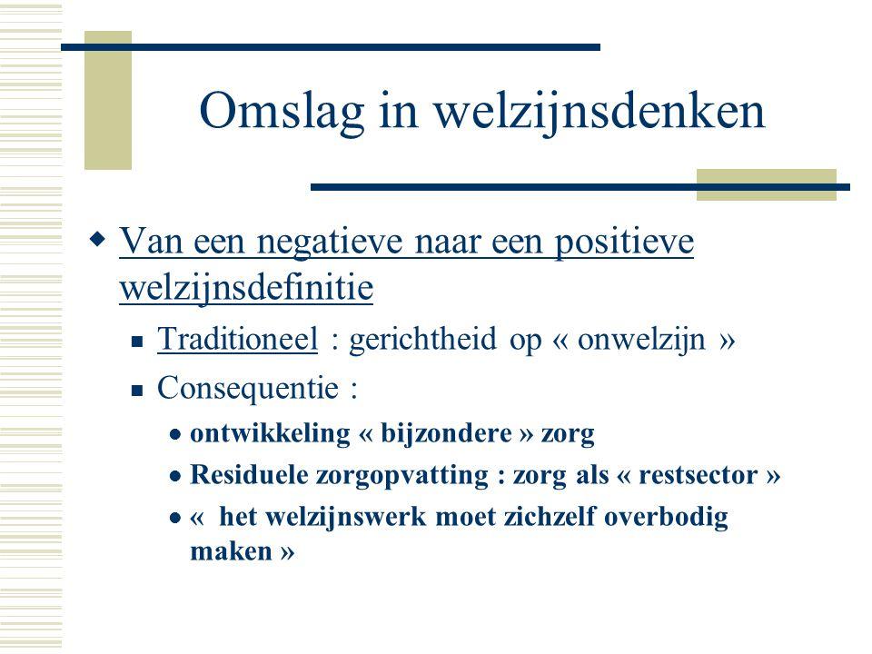 Omslag in welzijnsdenken  Van een negatieve naar een positieve welzijnsdefinitie Traditioneel : gerichtheid op « onwelzijn » Consequentie : ontwikkel