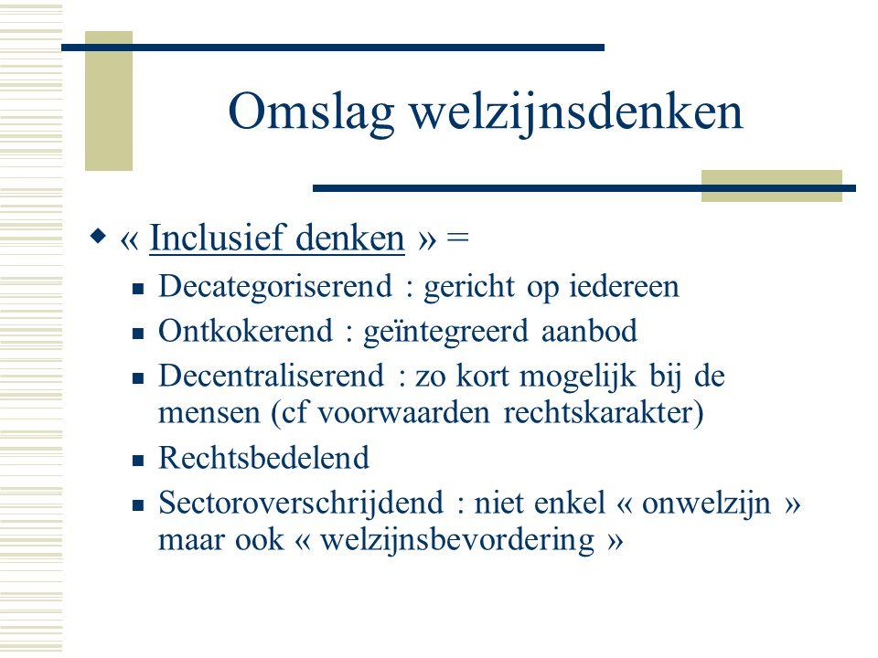 Omslag welzijnsdenken  « Inclusief denken » = Decategoriserend : gericht op iedereen Ontkokerend : geïntegreerd aanbod Decentraliserend : zo kort mog