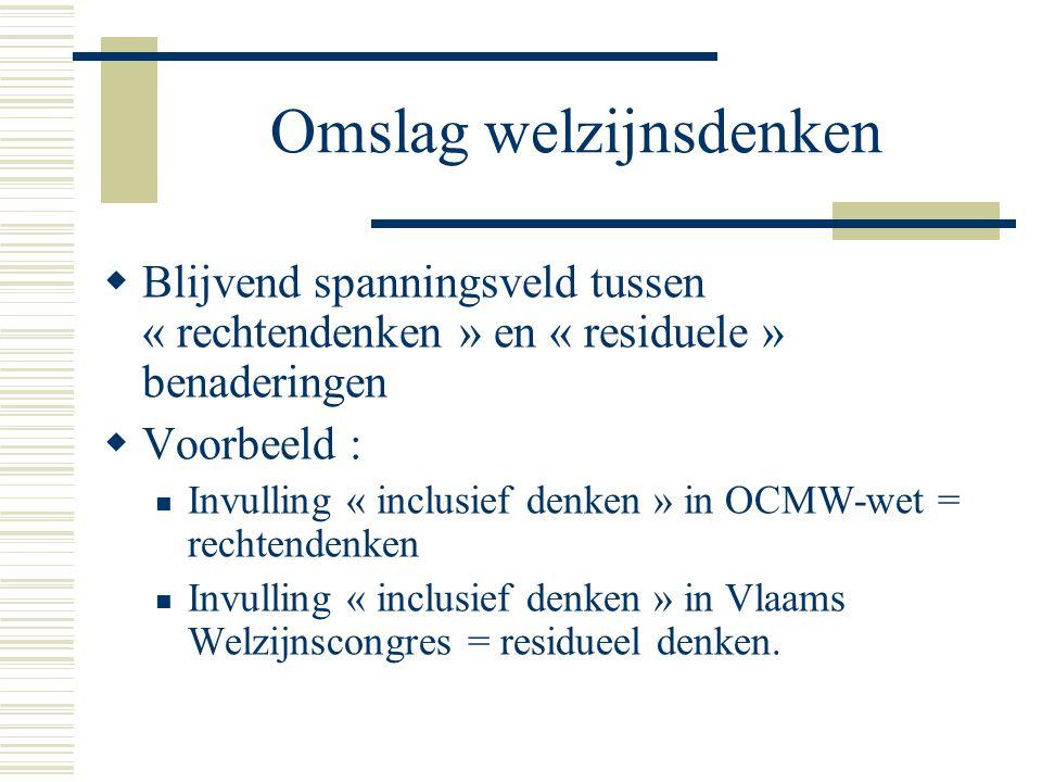Omslag welzijnsdenken  Blijvend spanningsveld tussen « rechtendenken » en « residuele » benaderingen  Voorbeeld : Invulling « inclusief denken » in