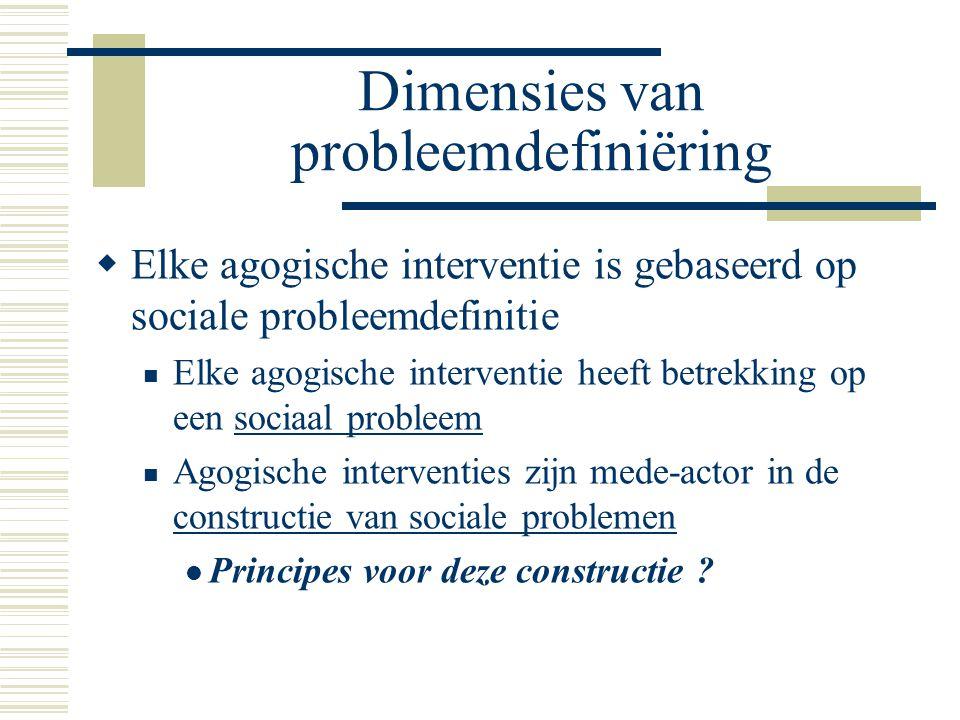 Dimensies van probleemdefiniëring  Elke agogische interventie is gebaseerd op sociale probleemdefinitie Elke agogische interventie heeft betrekking o