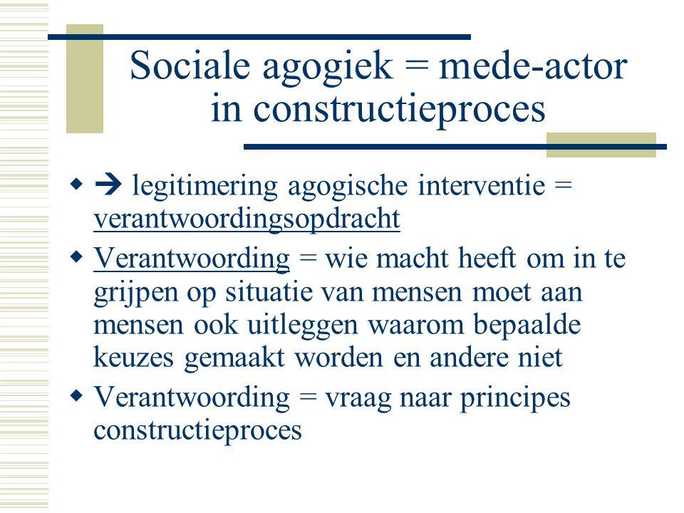 Sociale agogiek = mede-actor in constructieproces   legitimering agogische interventie = verantwoordingsopdracht  Verantwoording = wie macht heeft