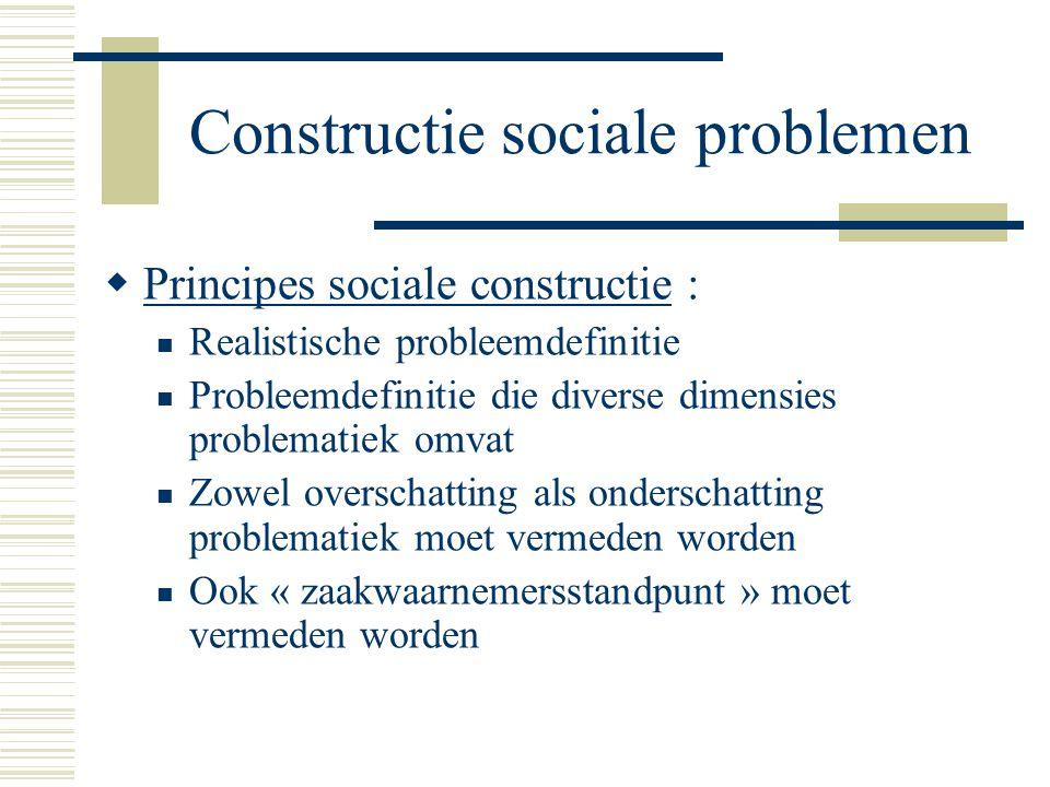 Constructie sociale problemen  Principes sociale constructie : Realistische probleemdefinitie Probleemdefinitie die diverse dimensies problematiek om
