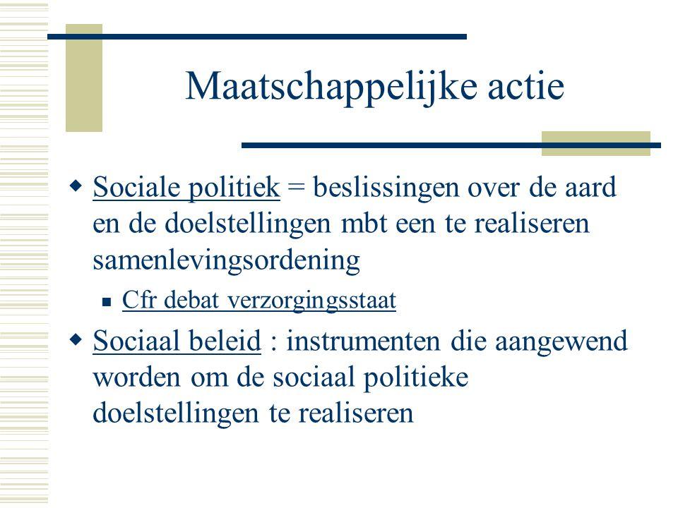Maatschappelijke actie  Sociale politiek = beslissingen over de aard en de doelstellingen mbt een te realiseren samenlevingsordening Cfr debat verzor